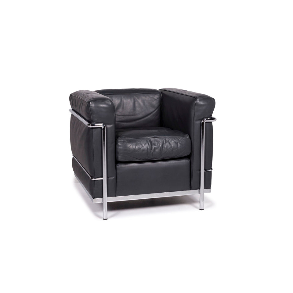 Cassina Le Corbusier LC 2 Leder Sessel Anthrazit Grau #12112