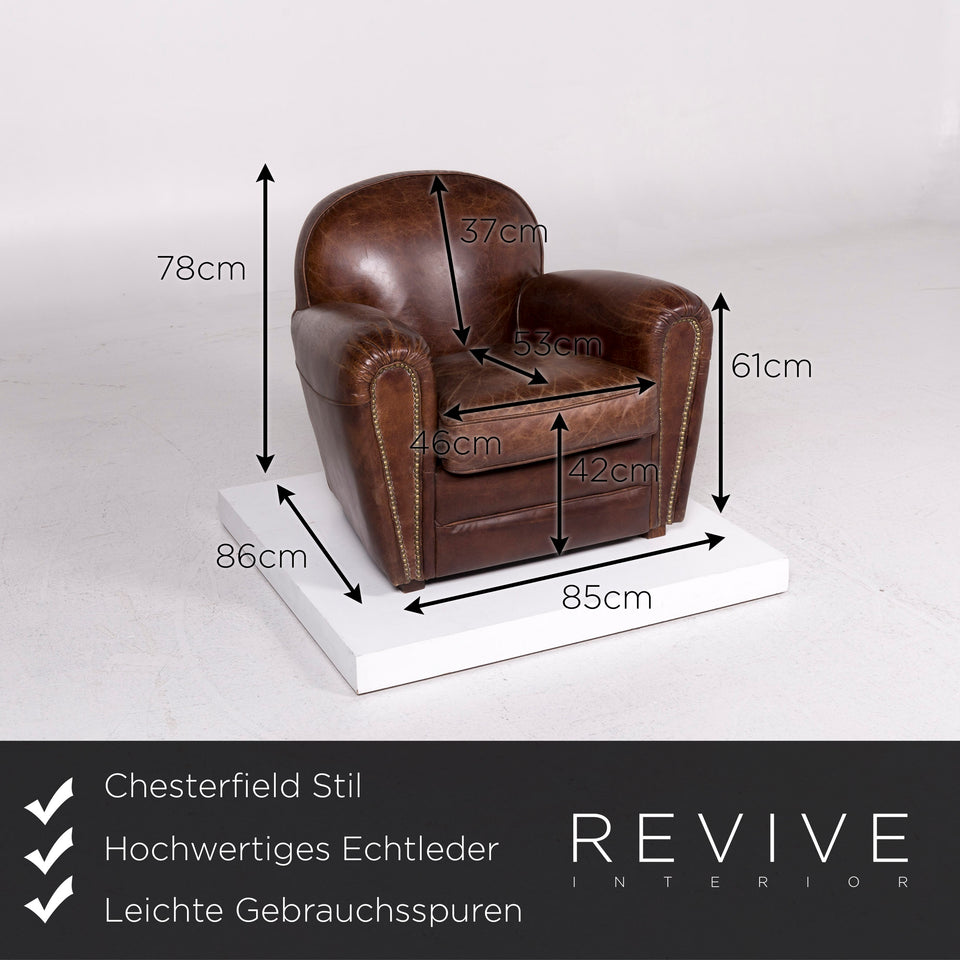 Chesterfield Leder Sessel Braun Retro #11597