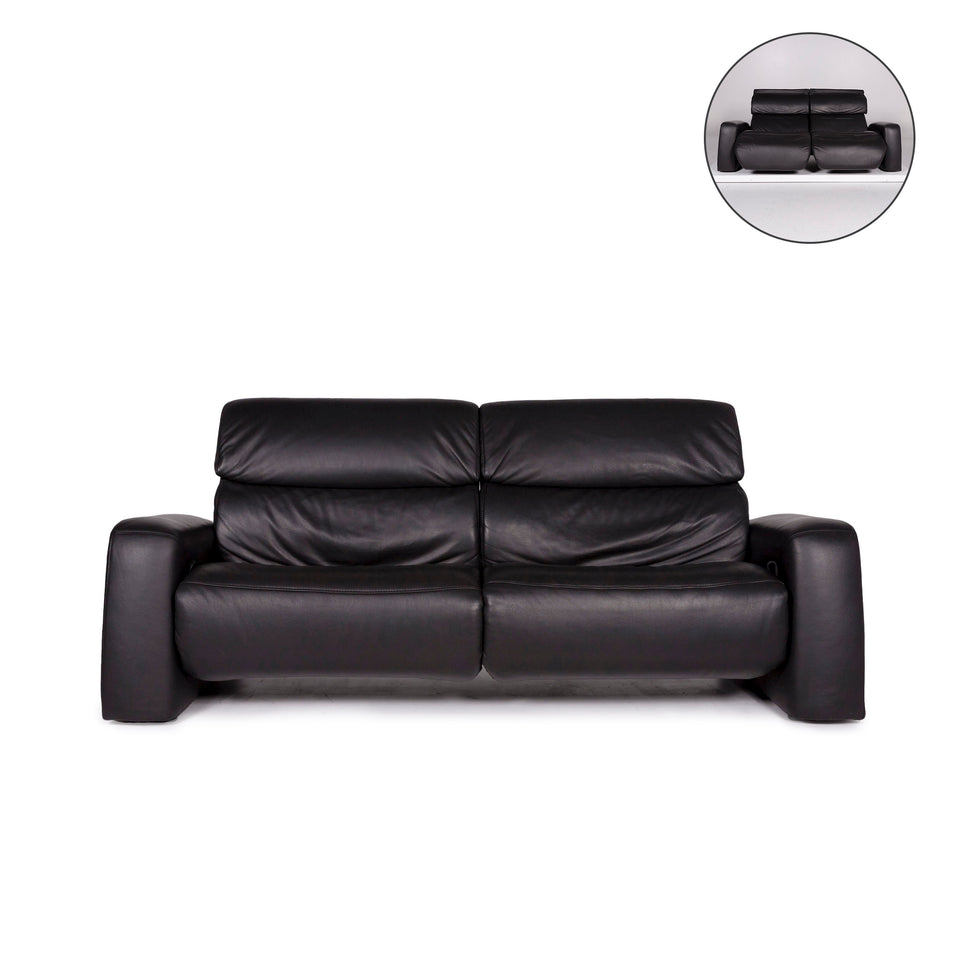 Himolla Leder Sofa Anthrazit Zweisitzer Relaxfunktion Funktion Couch #11079