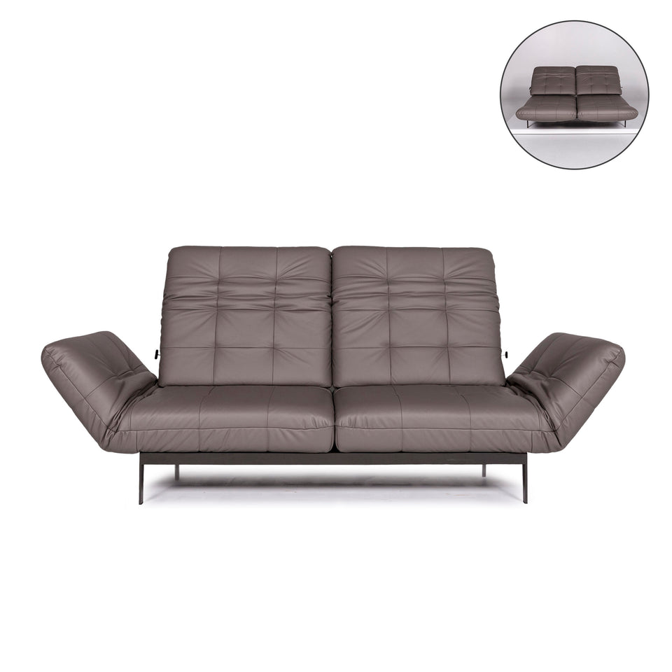 Rolf Benz AGIO Leder Sofa Grau Zweisitzer Funktion Relaxfunktion Couch #10546