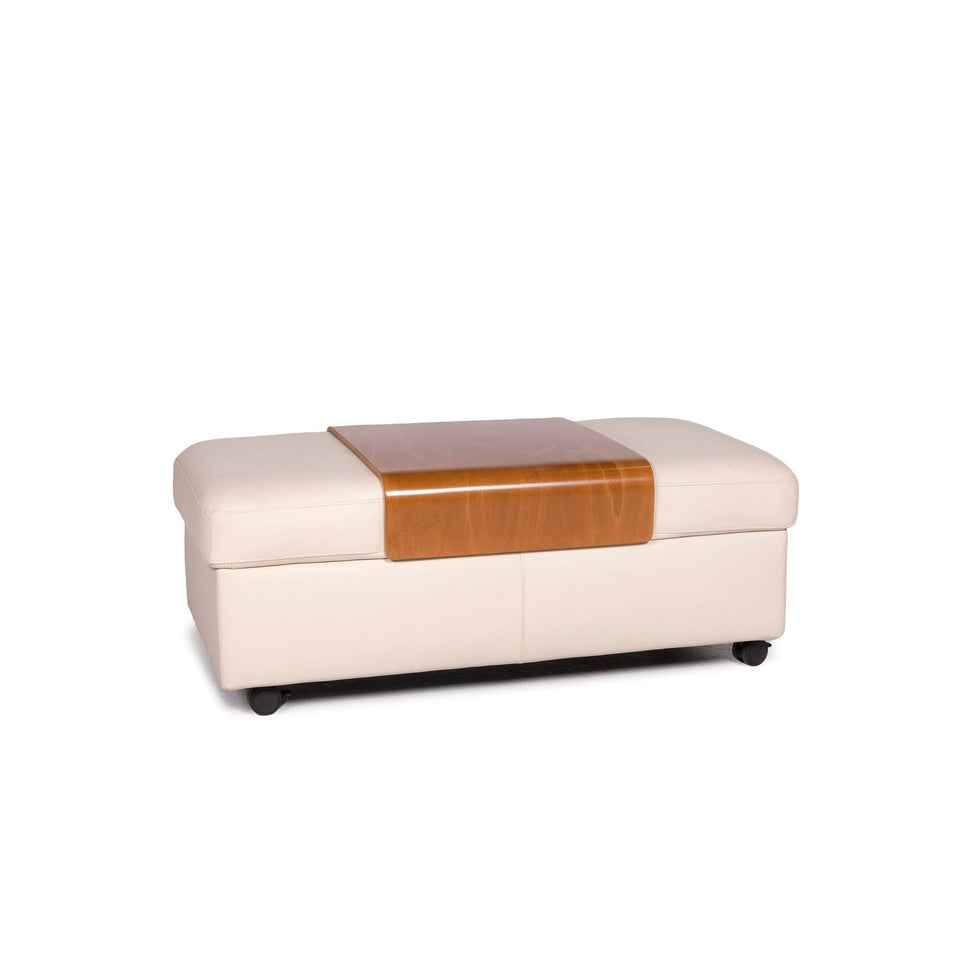 Stressless Arion Leder Hocker Creme Ottoman #11355