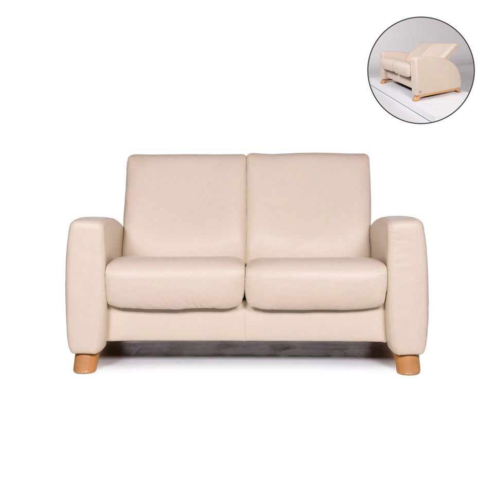 Stressless Arion Leder Sofa Creme Zweisitzer Funktion Relaxfunktion Couch #10922