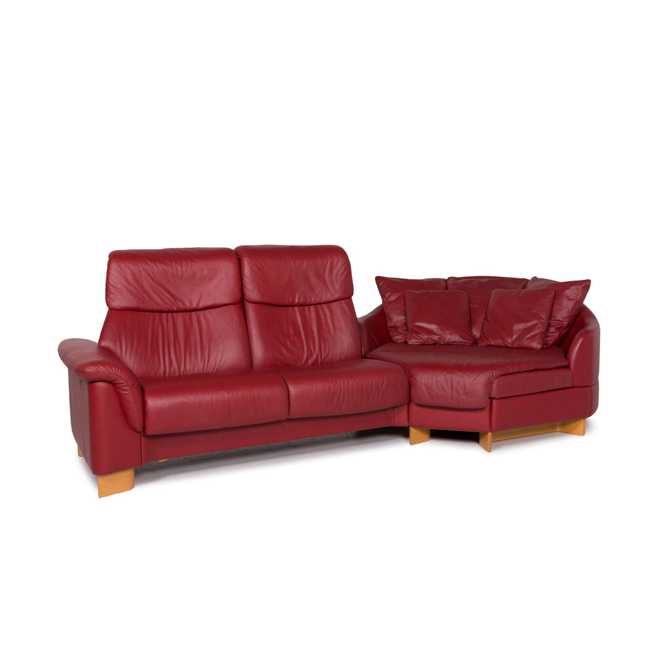 Stressless Paradise Leder Ecksofa Rot Weinrot Sofa Funktion Couch #11718