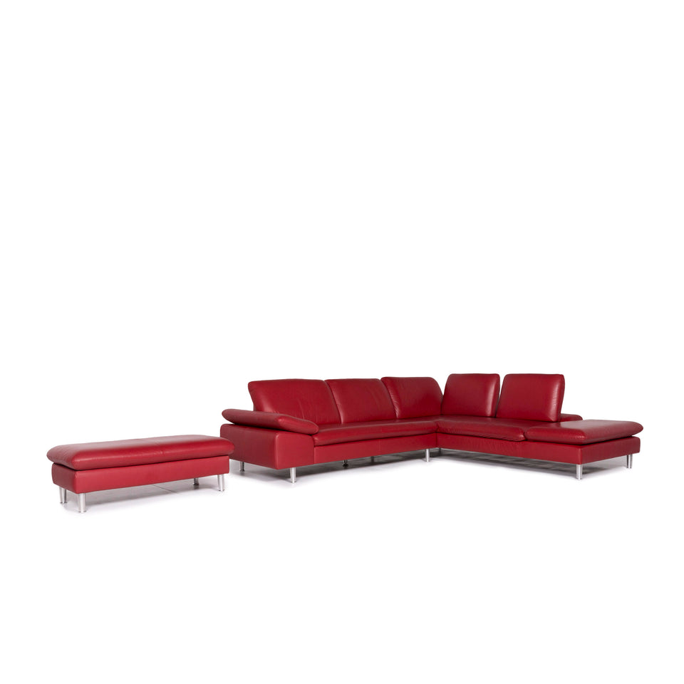 Willi Schillig Loop Leder Sofa Garnitur Rot 1x Ecksofa 1x Hocker Couch #11102