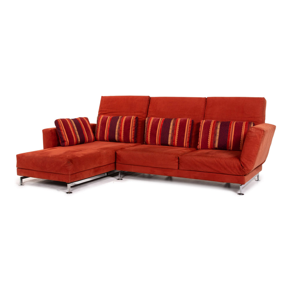 Brühl & Sippold Moule Alcantara Stoff Ecksofa Rot Sofa Funktion Relaxfunktion Couch #15471