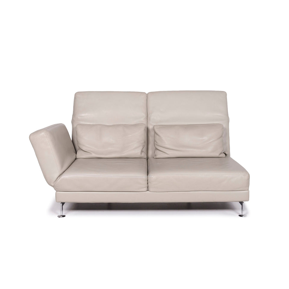 Brühl & Sippold Moule Leder Sofa Grau Zweisitzer Funktion Relaxfunktion Couch #11714