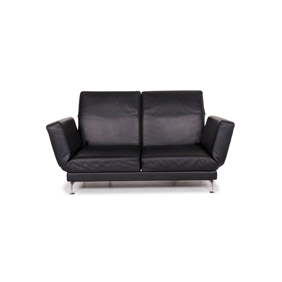 Brühl & Sippold Moule Leder Sofa Schwarz Zweisitzer Funktion Relaxfunktion Couch #12308