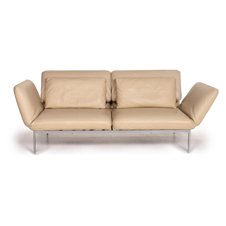 Brühl & Sippold Roro Leder Sofa Creme Zweisitzer Funktion Relaxfunktion Schlafsofa Schlaffunktion Couch #15416