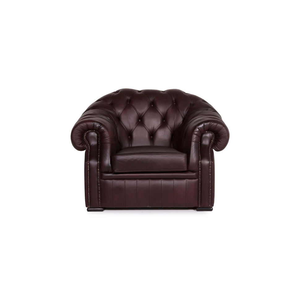 Chesterfield Leder Sessel Braun Violett Retro #12178