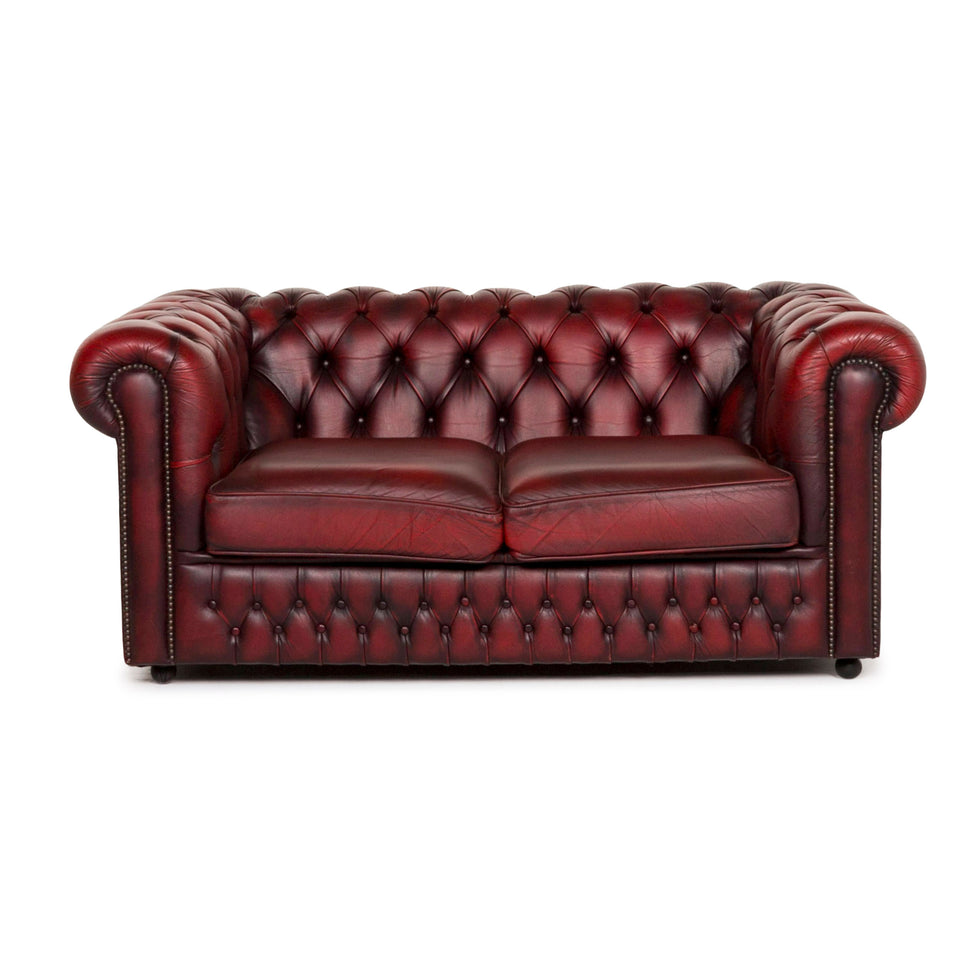 Chesterfield Leder Sofa Rot Zweisitzer Retro Vintage Couch #12786
