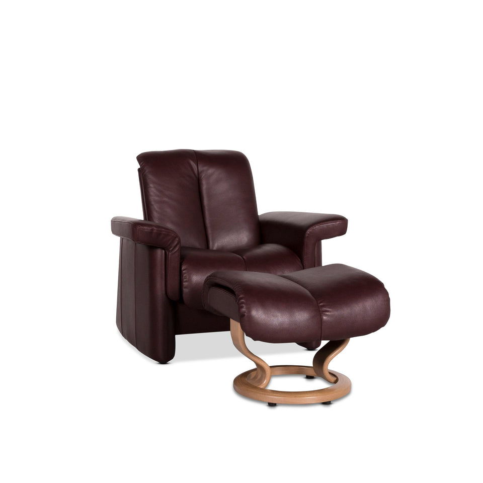 Stressless Blues Leder Sessel inkl. Hocker Aubergine Relax Funktion #9799