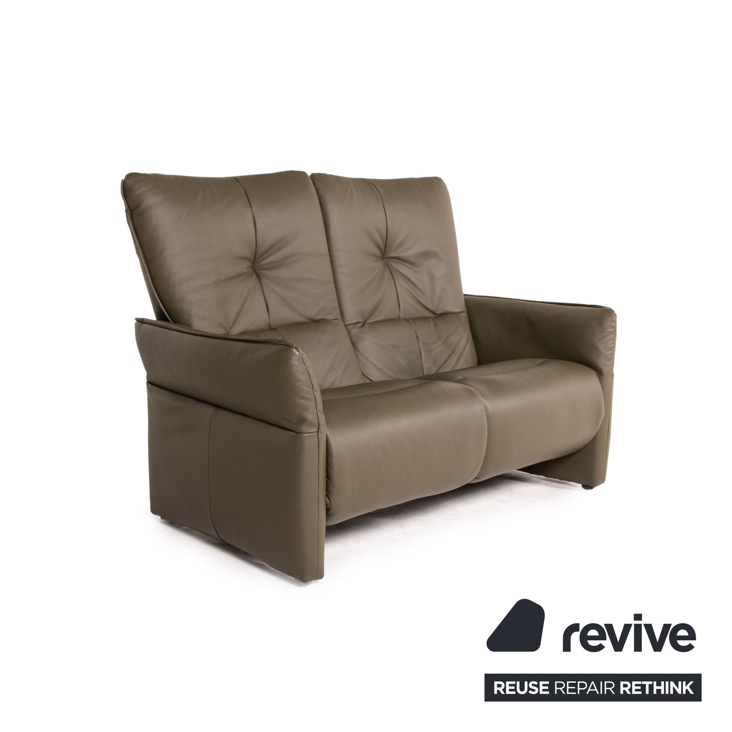 Himolla Cumuly Leder Sofa Olivgrün Graugrün Zweisitzer Funktion Relaxfunktion Couch