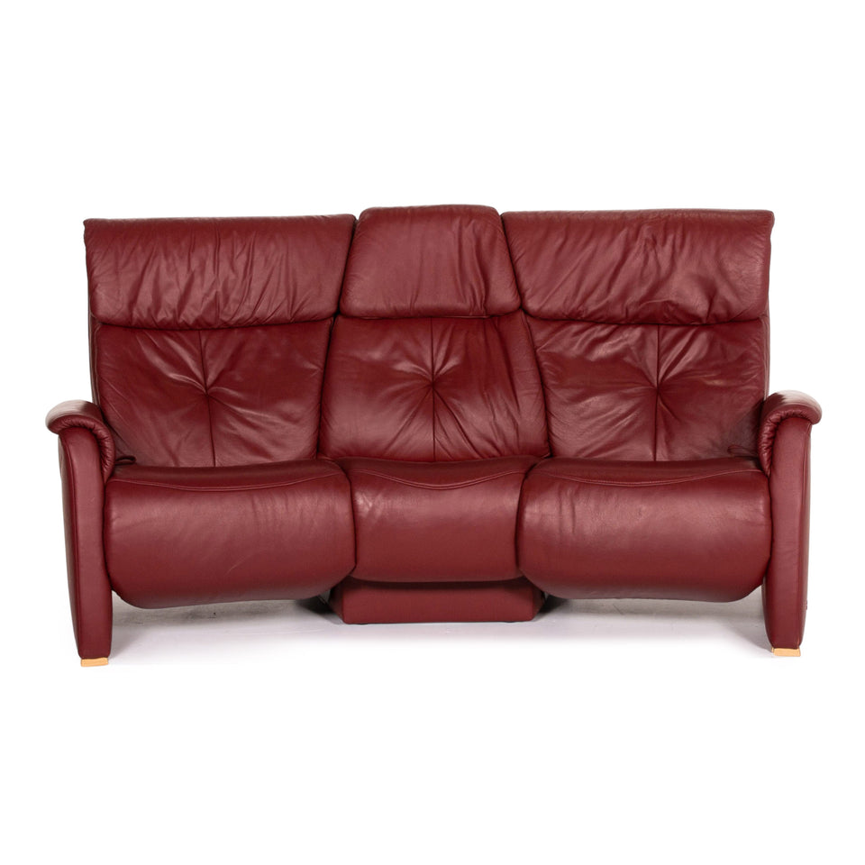 Himolla Trapez Leder Sofa Rot Dreisitzer Relaxfunktion Funktion Couch #14084