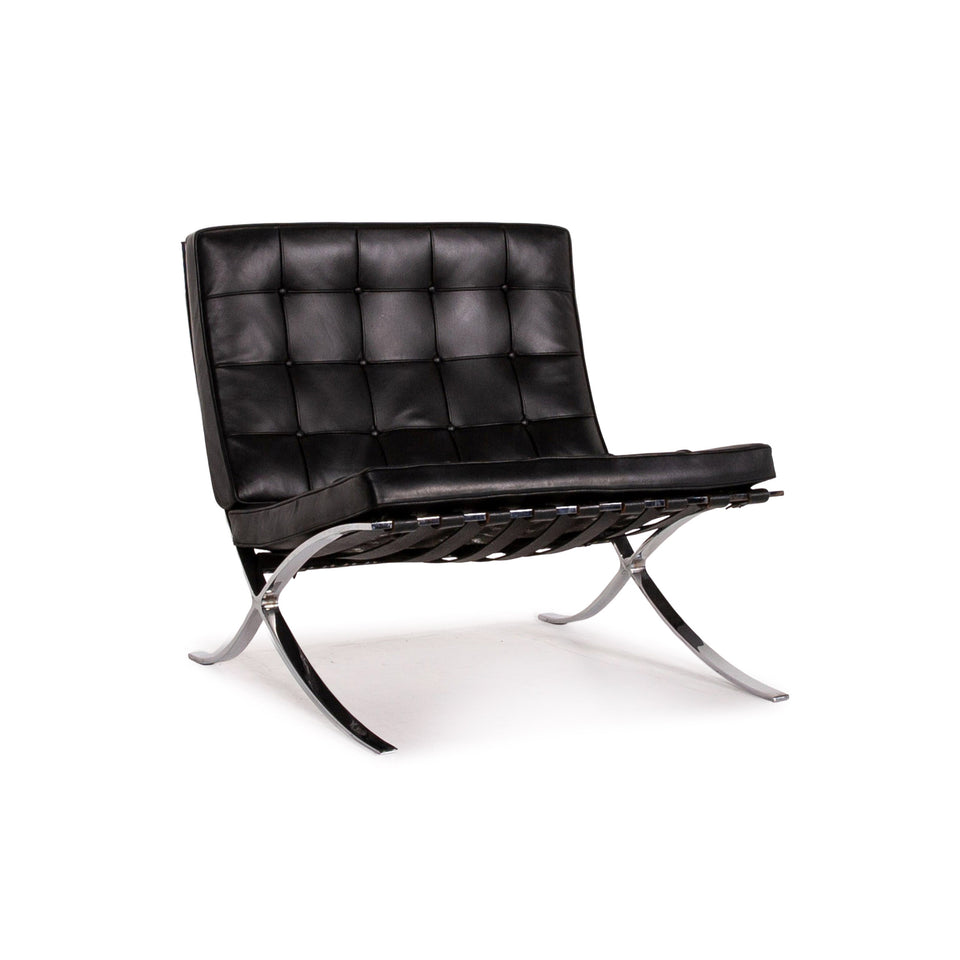 Knoll International Barcelona Chair Leder Sessel Schwarz #12349