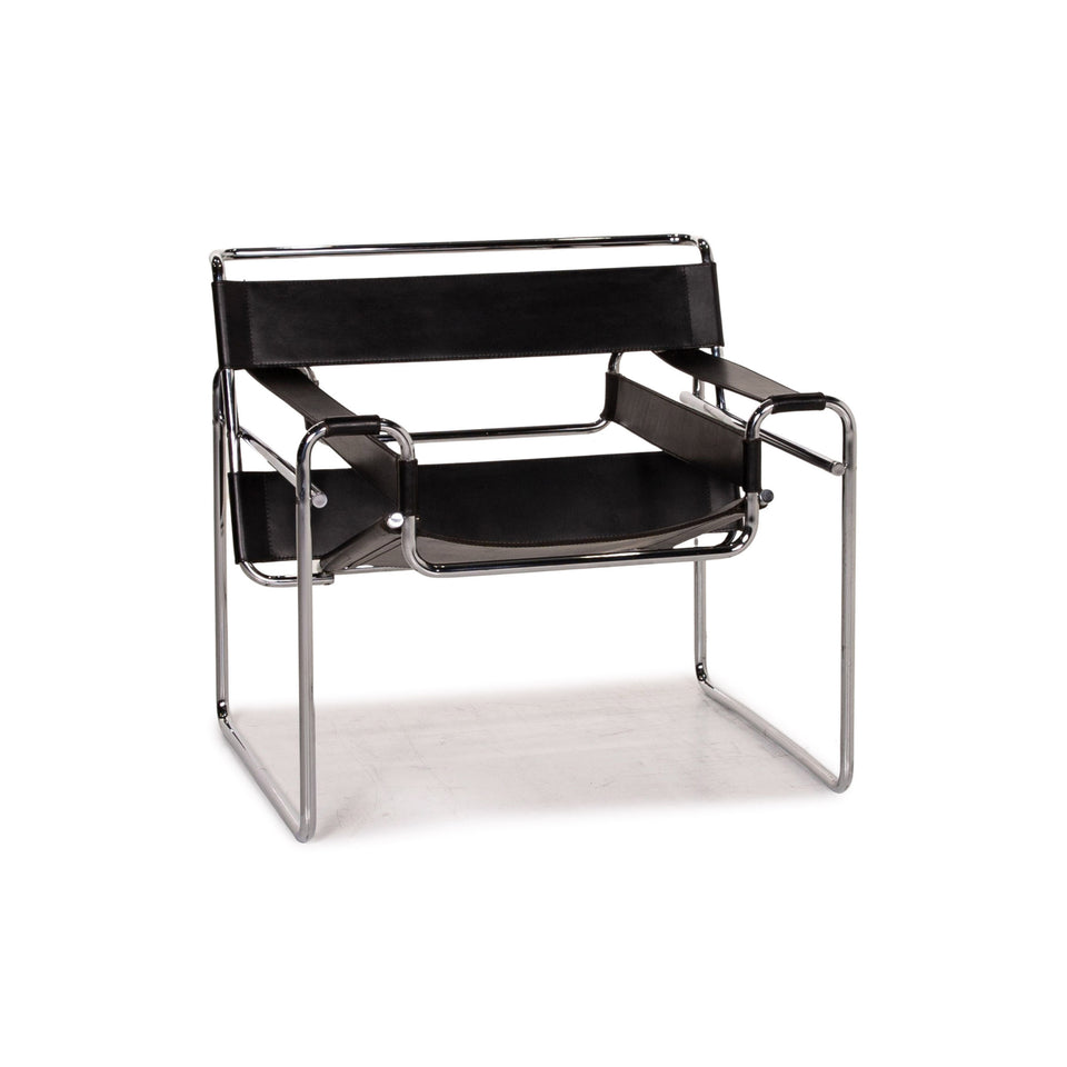 Knoll International Wassily Chair Leder Sessel Schwarz #15353