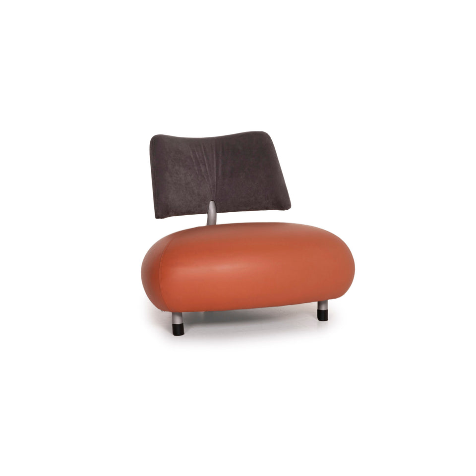 Leolux Pallone Leder Sessel Orange Stoff