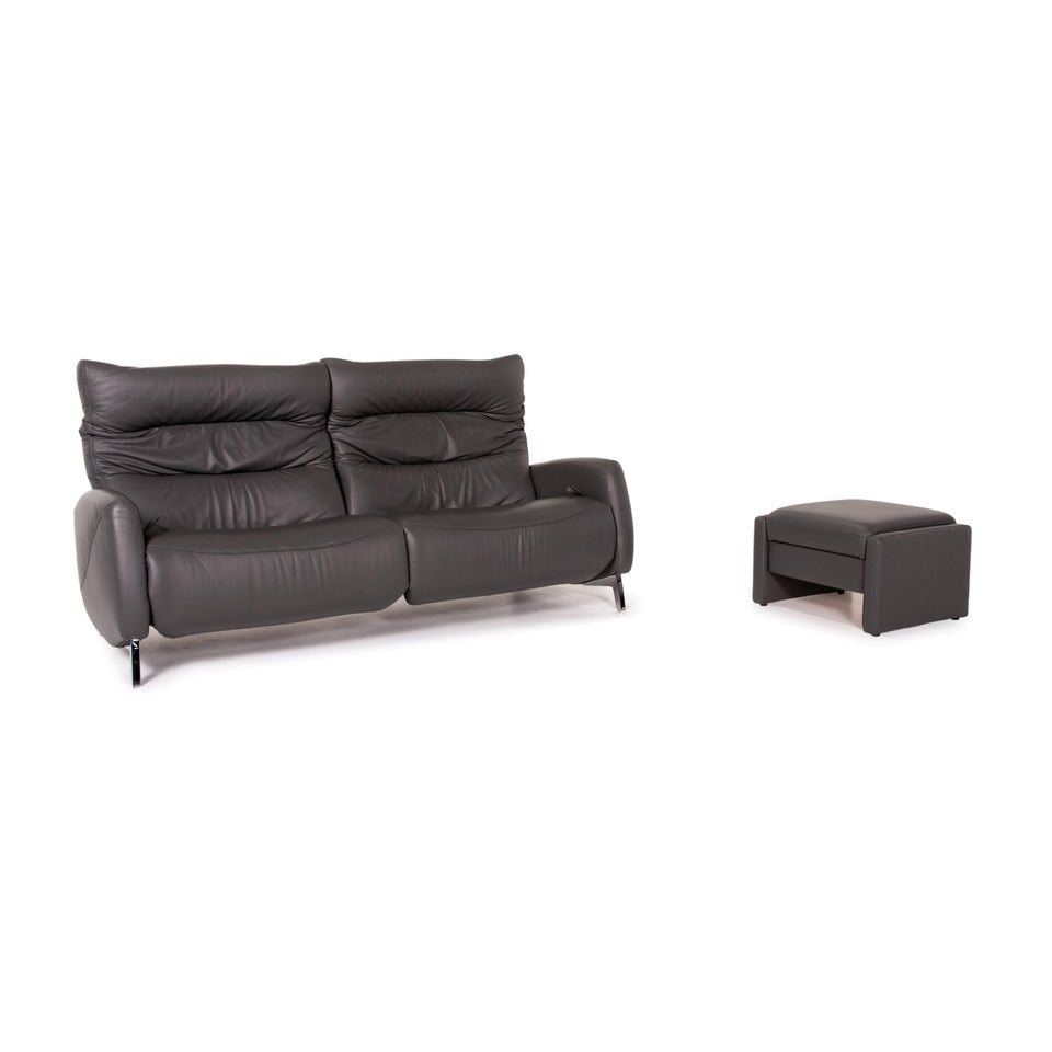 Mondo Recero Leder Sofa Grau Zweisitzer Funktion Relaxfunktion Couch #14933