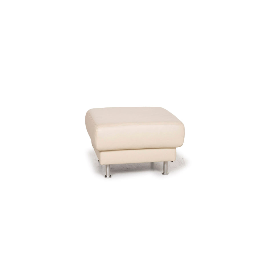 Musterring Leder Hocker Creme #13024