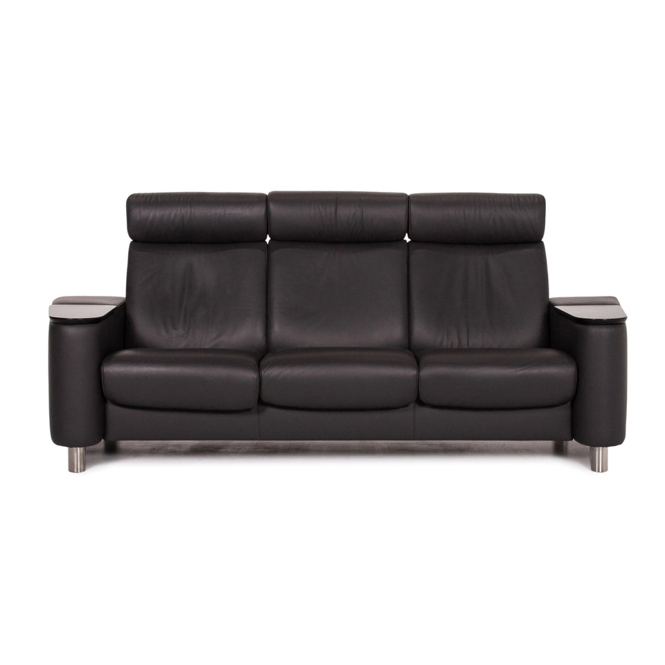 Stressless Arion Leder Sofa Anthrazit Grau Dreisitzer Funktion Couch Heimkino #13749