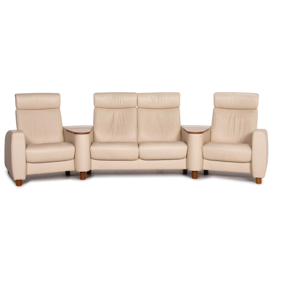 Stressless Arion Leder Sofa Creme Viersitzer Heimkino Relaxfunktion Funktion Couch #14841