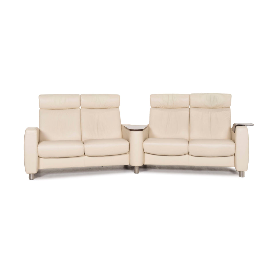 Stressless Arion Leder Sofa Creme Viersitzer Heimkinosofa Relaxfunktion Funktion Couch #12955