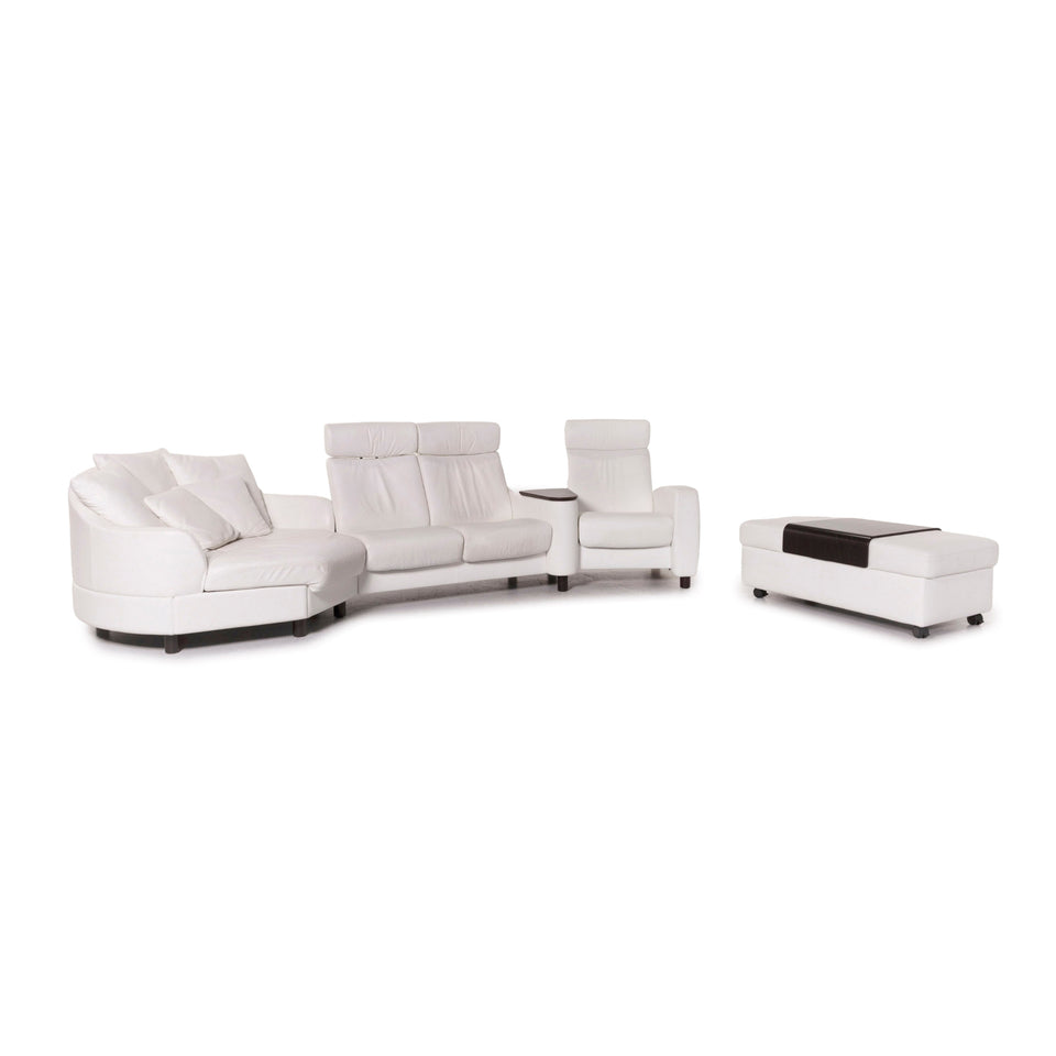 Stressless Arion Leder Sofa Garnitur Weiß 1x Ecksofa 1x Hocker #12461