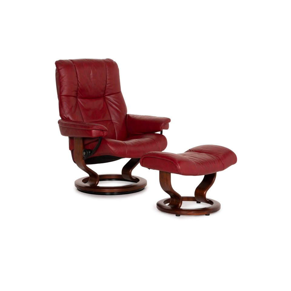 Stressless Mayfair Leder Sessel inkl. Hocker Rot Relaxfunktion Funktion Relaxsessel