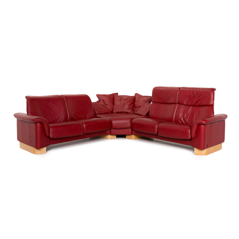 Stressless Paradise Leder Ecksofa Rot Funktion Relaxfunktion Couch #13125
