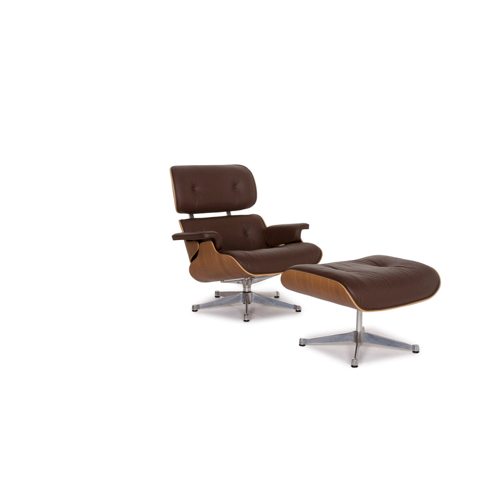 Vitra Eames Lounge Chair inkl Ottoman Leder Sessel Braun Charles & Ray #12368
