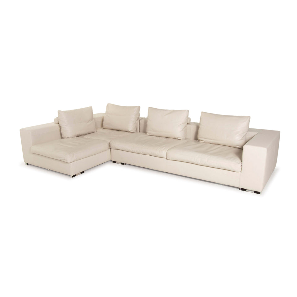 Who's Perfect  Creme Ecksofa Leder