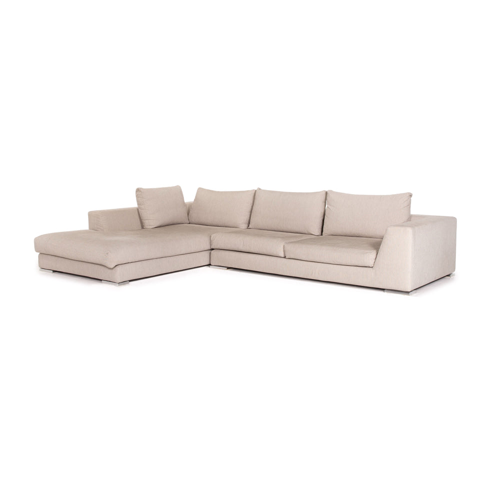 Who's Perfect Stoff Ecksofa Creme Sofa Couch #13763