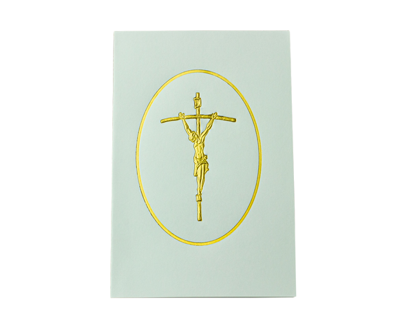 Gold Foil Crucifixion in Oval Frame