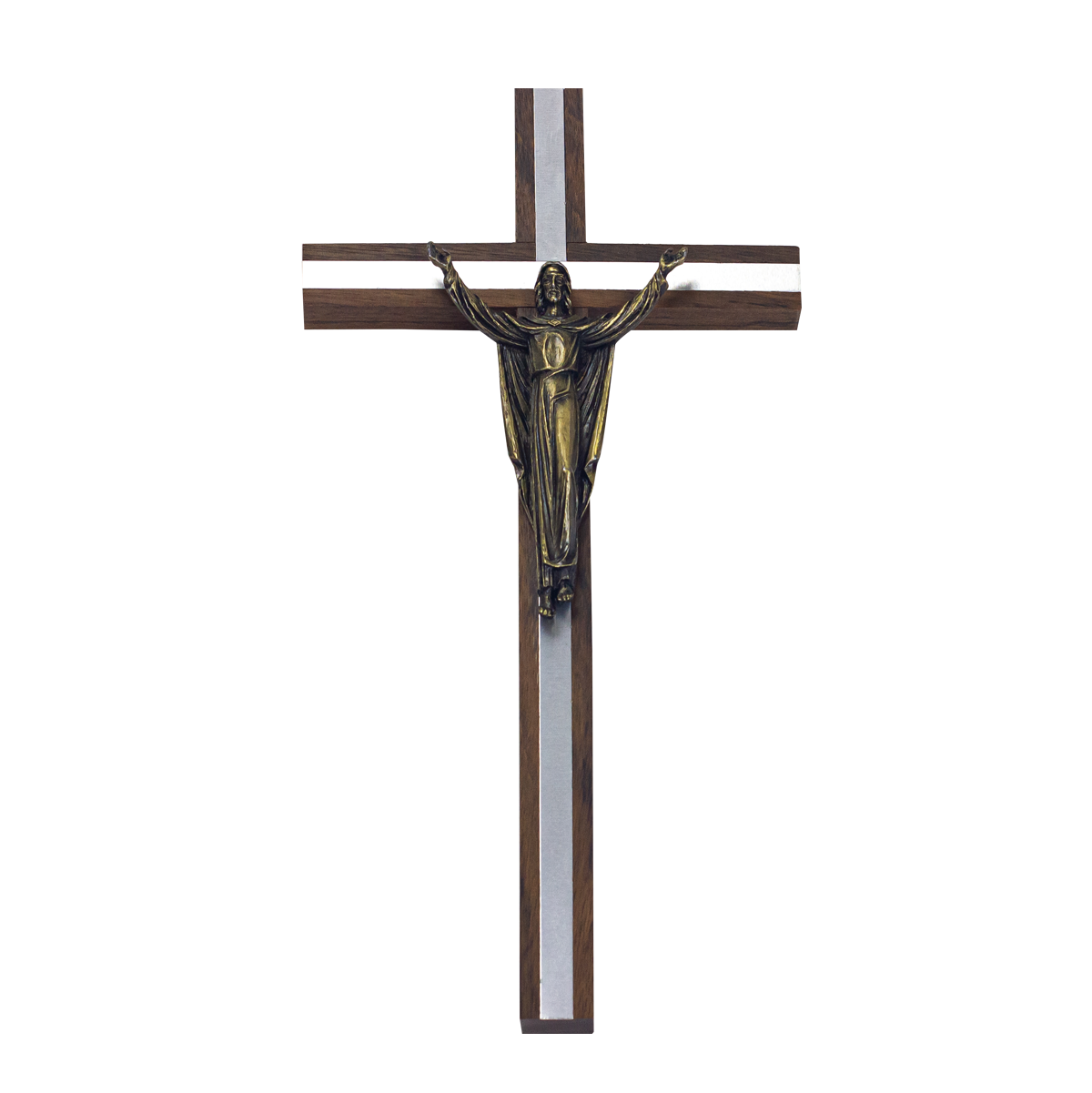 Deluxe Crucifix with Silver Coloured Inlay