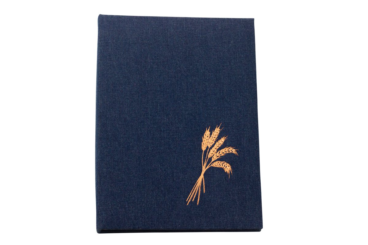 Denim with Gold Foil Wheat Sheaf