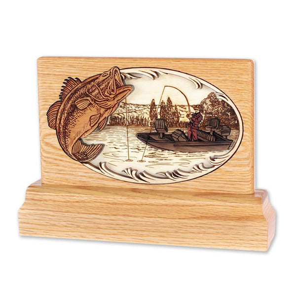 Fisherman 3D Oak Keepsake