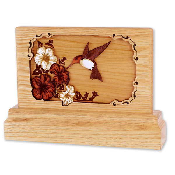Hummingbird 3D Oak Keepsake