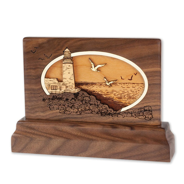 Lighthouse 3D Walnut Keepsake