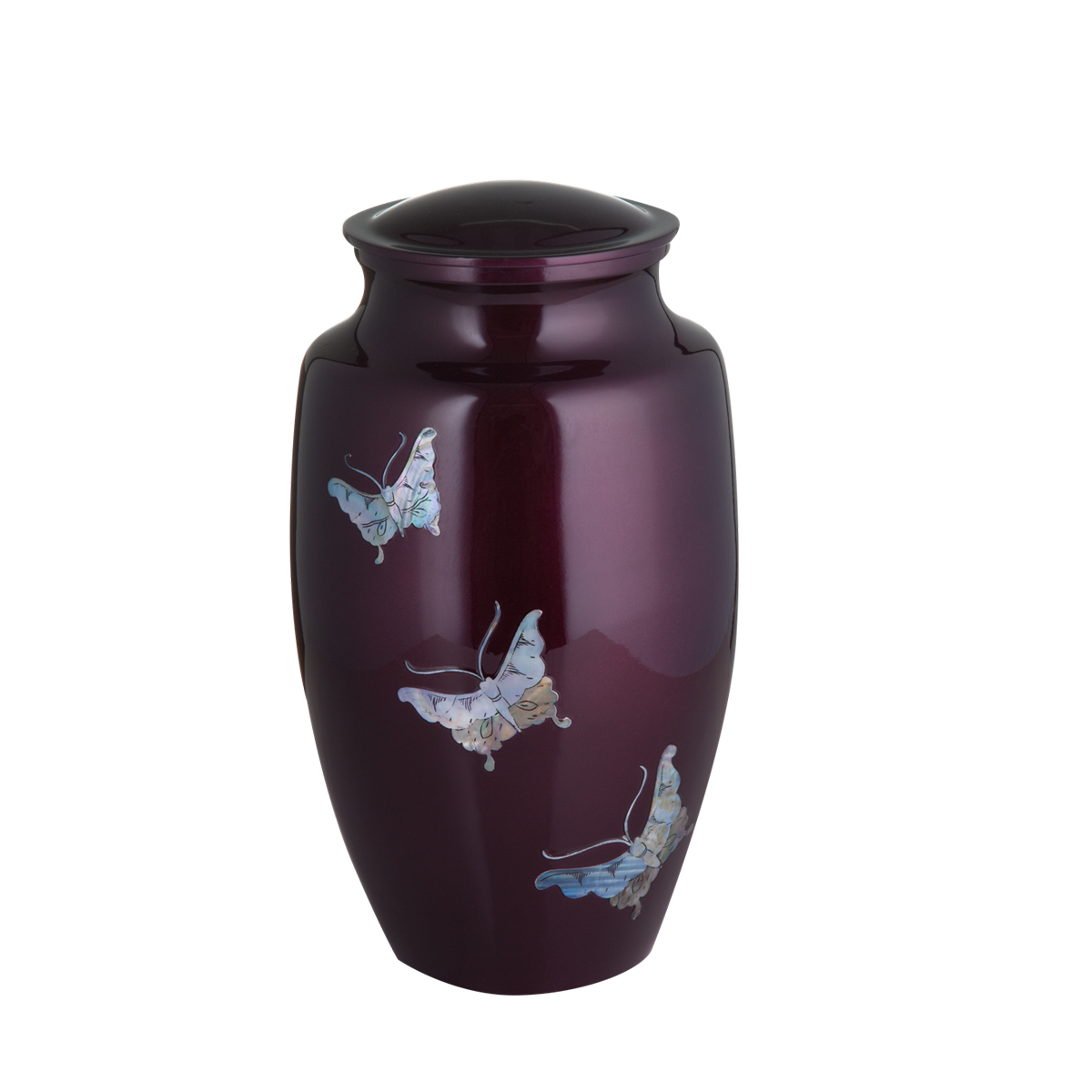 Purple with Mother of Pearl Butterfly Inlay Urn
