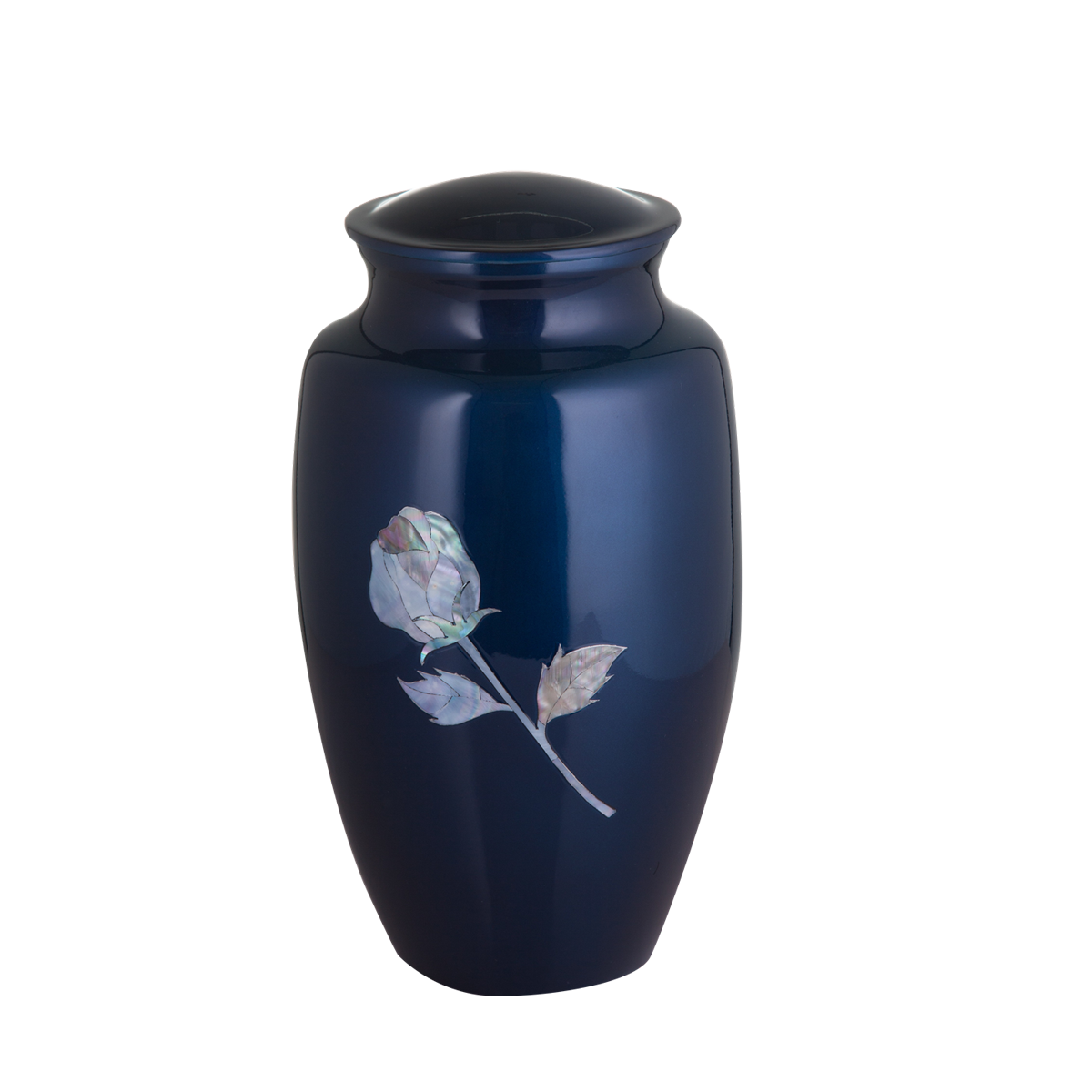 Blue with Mother of Pearl Rose Inlay Urn