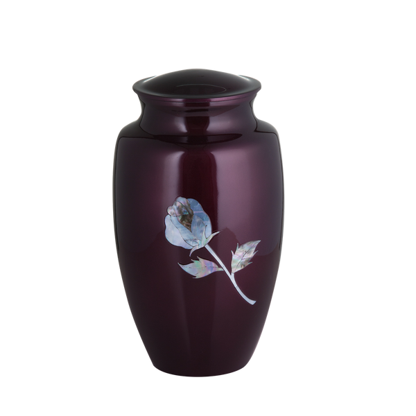 Purple with Mother of Pearl Rose Inlay Urn