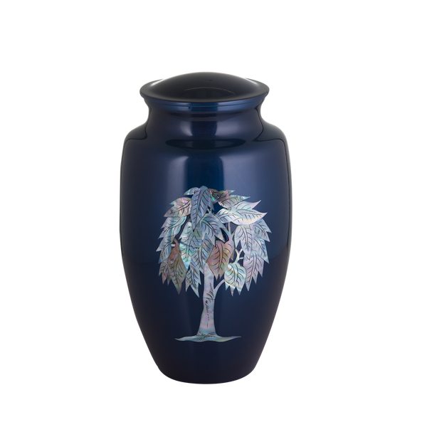Blue with Mother of Pearl Tree of Life Inlay Urn