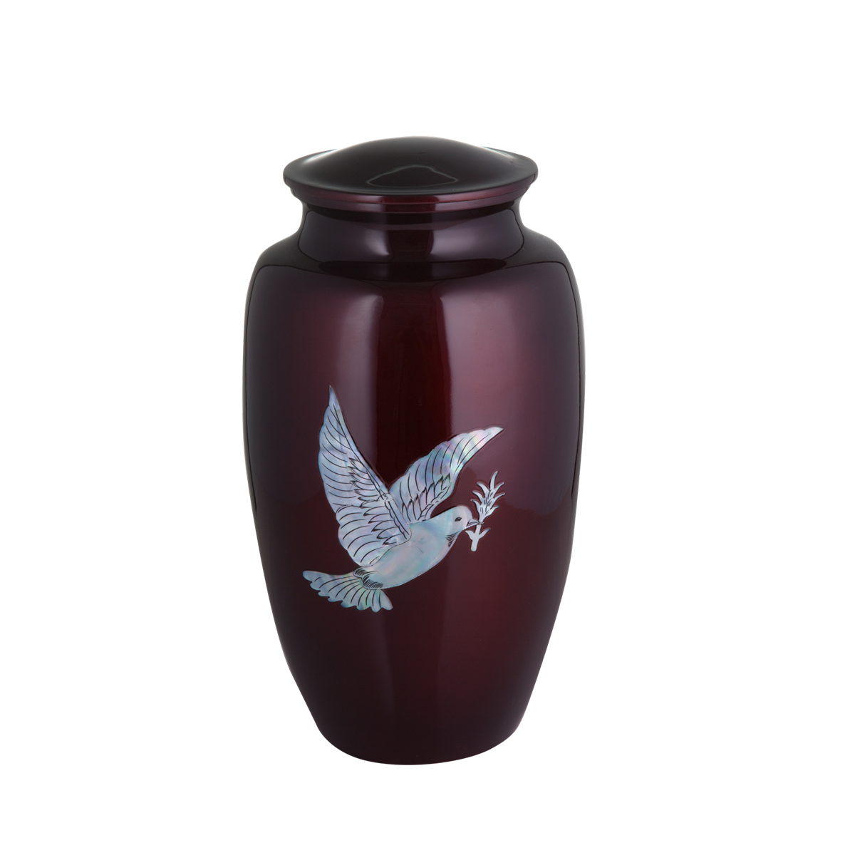 Burgundy with Mother of Pearl Dove Inlay Urn