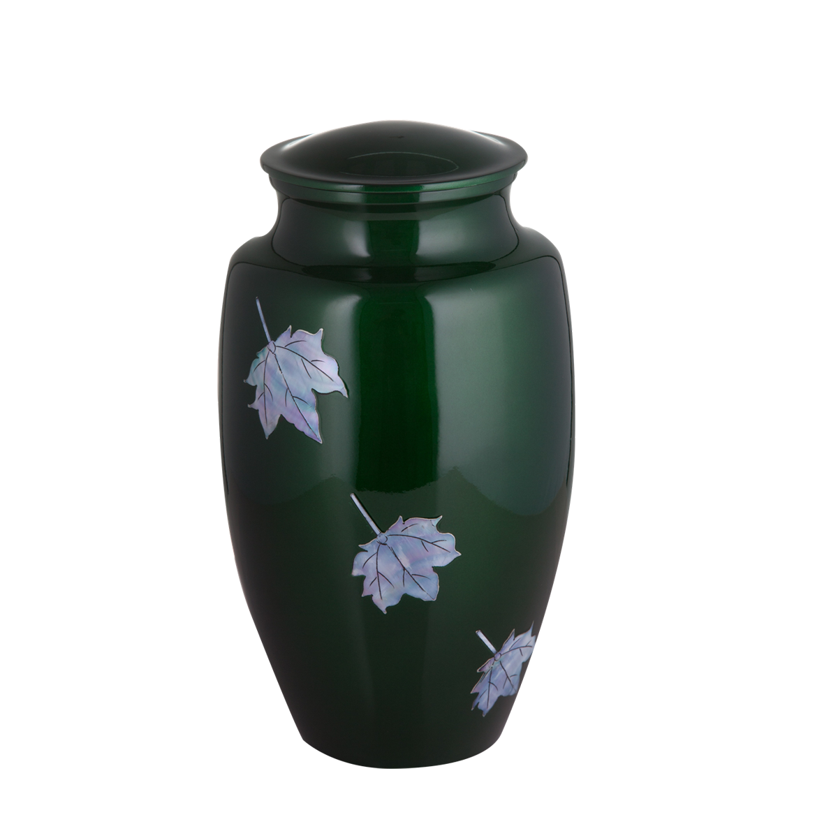 Green with Mother of Pearl Leaf Inlay Urn
