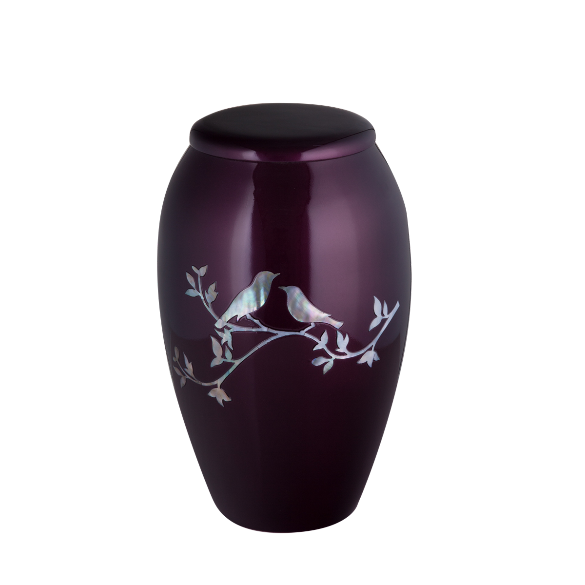 Purple with Mother of Pearl Song Birds Inlay Urn