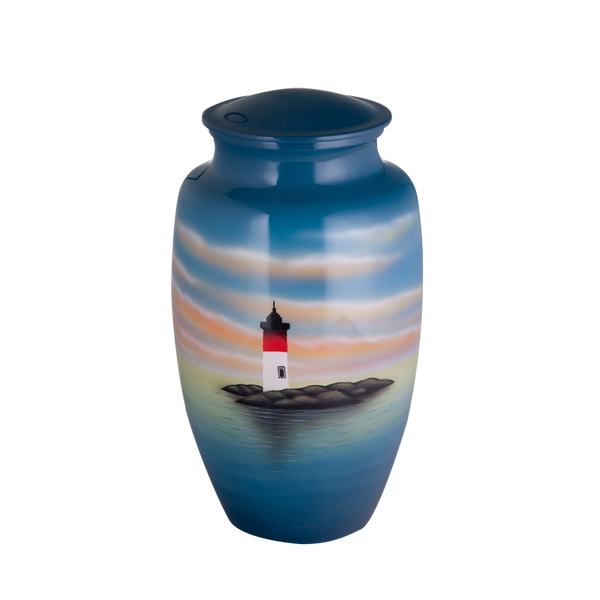 Painted Lighthouse Urn