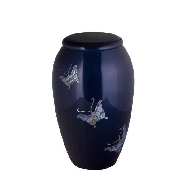 Blue with Mother of Pearl Butterfly Inlay Urn