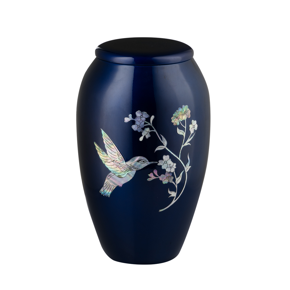 Blue with Mother of Pearl Hummingbird Urn