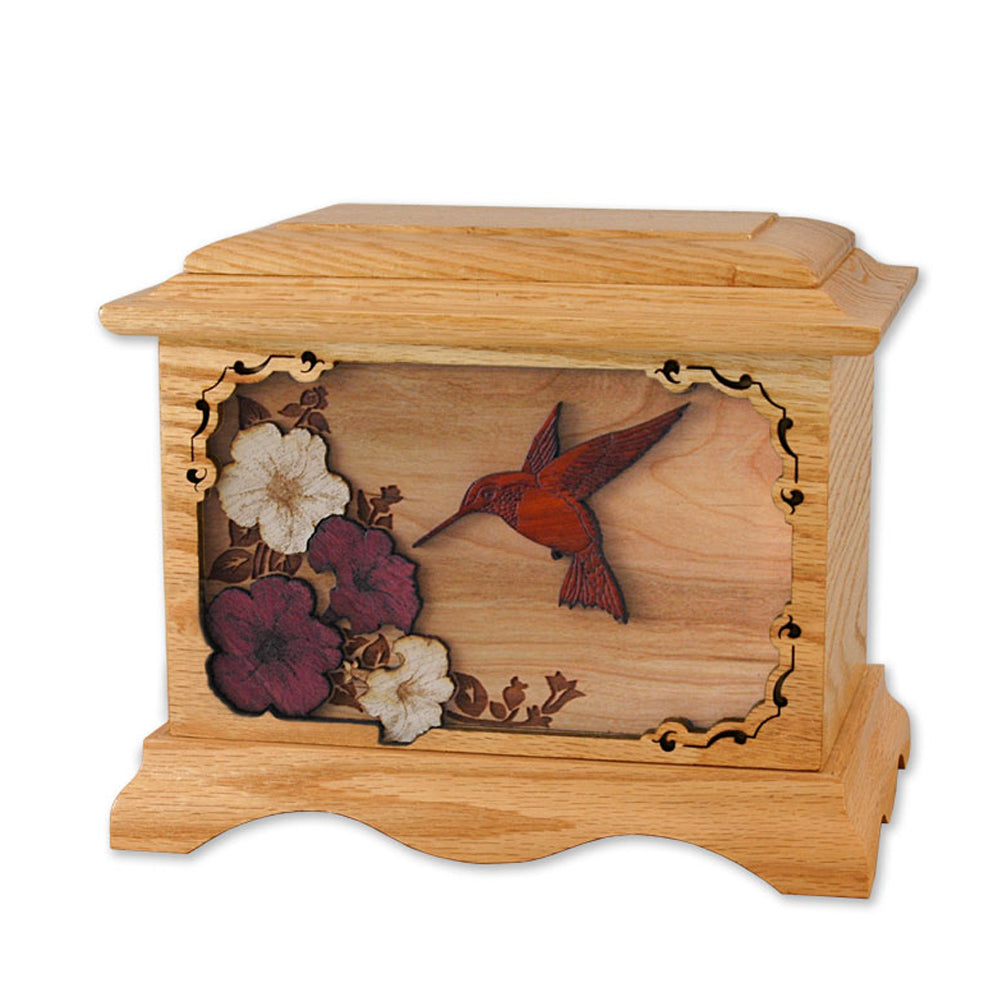 Hummingbird 3D Oak Urn
