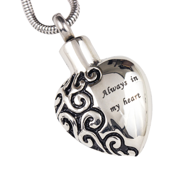 Engraved Heart Stainless Steel Pendant