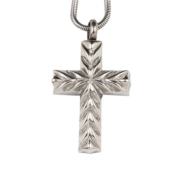 Beveled Cross Stainless Steel Pendant